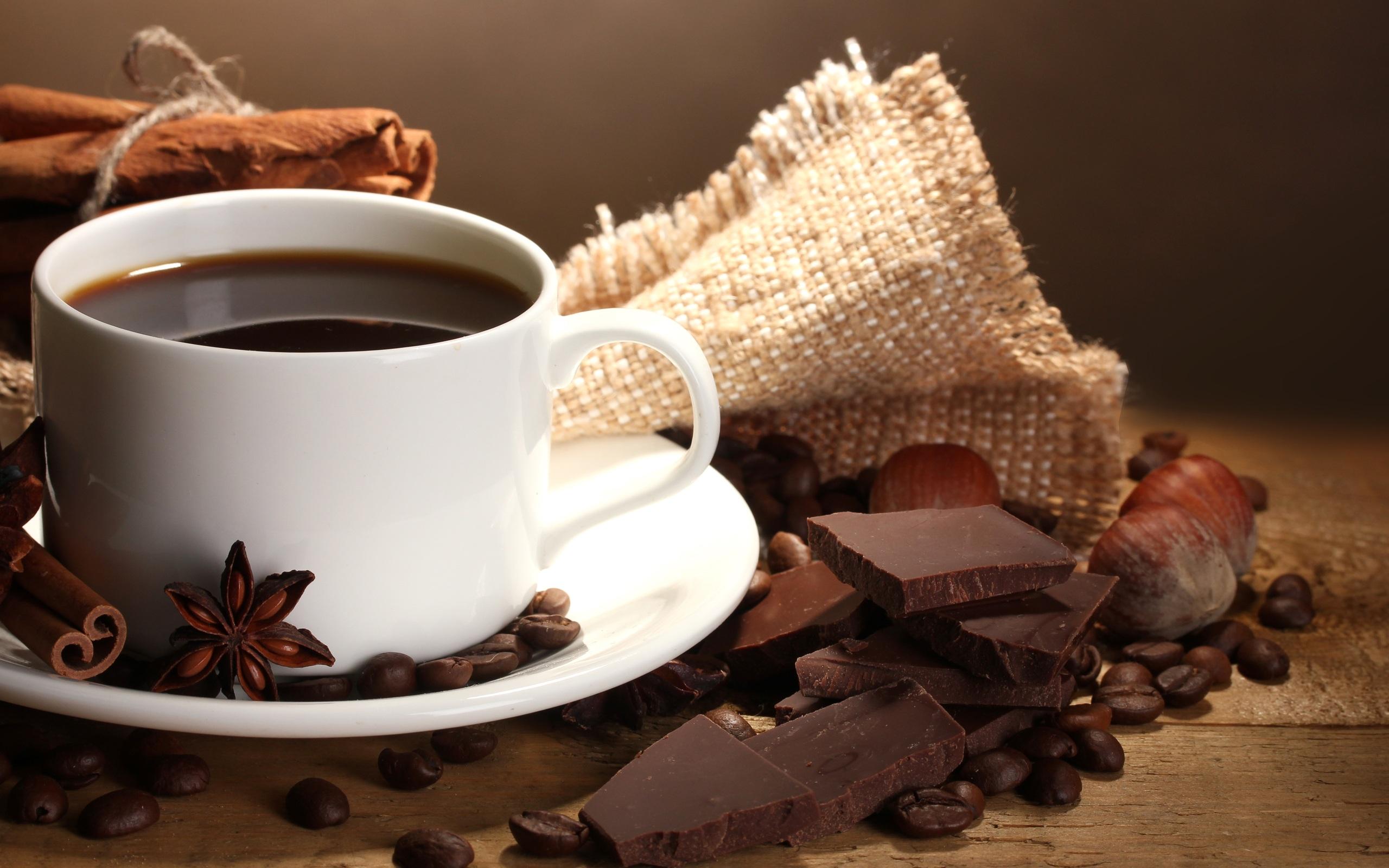 шоколад и чашка кофе, какао, скачать фото, обои на рабочий стол