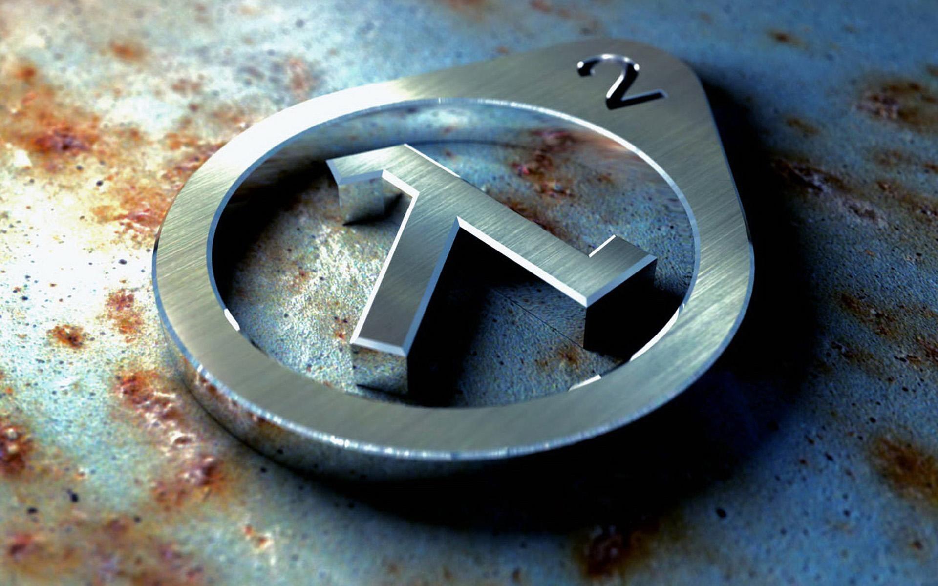 Half Life logo metal wallpaper, скачать фото, обои для рабочего стола