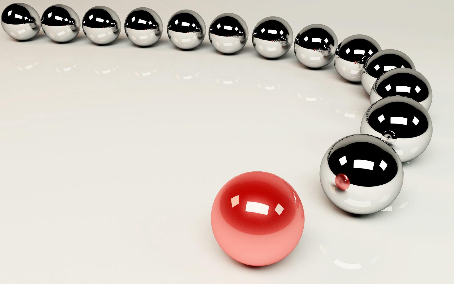 3D metal wallpaper, скачать фото 3D, металлические шарики, обои для рабочего стола