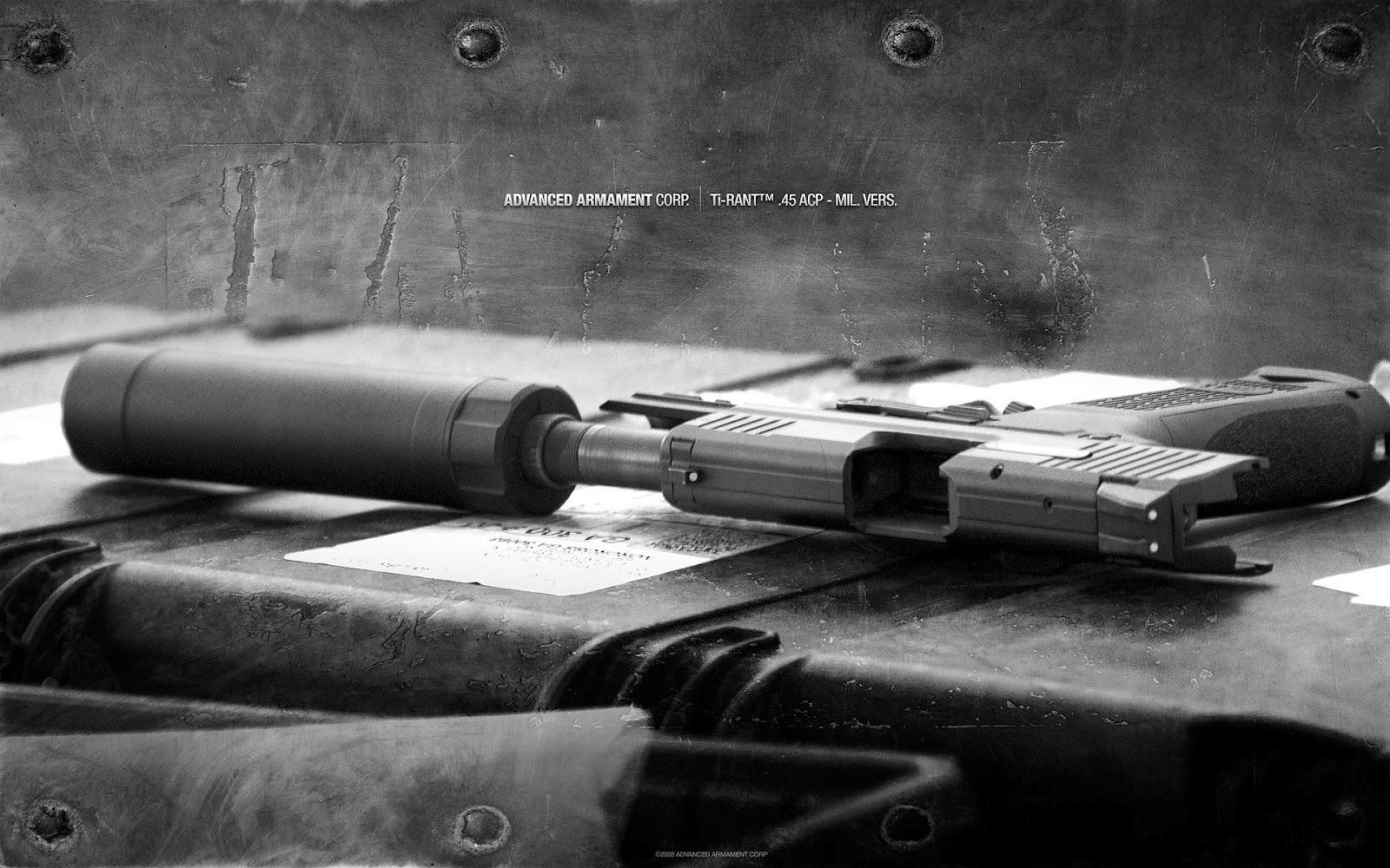 пистолет с глушителем, обои для рабочего стола, скачать фото, hand gun wallpaper
