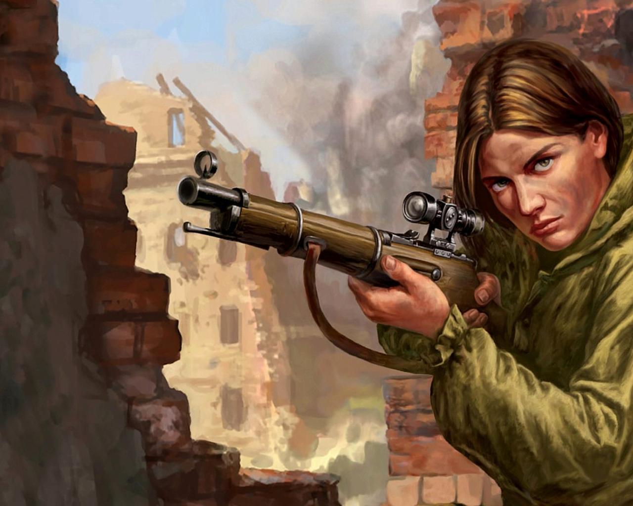 girl sniper photo, девушка снайпер, скачать фото, обои для рабочего стола