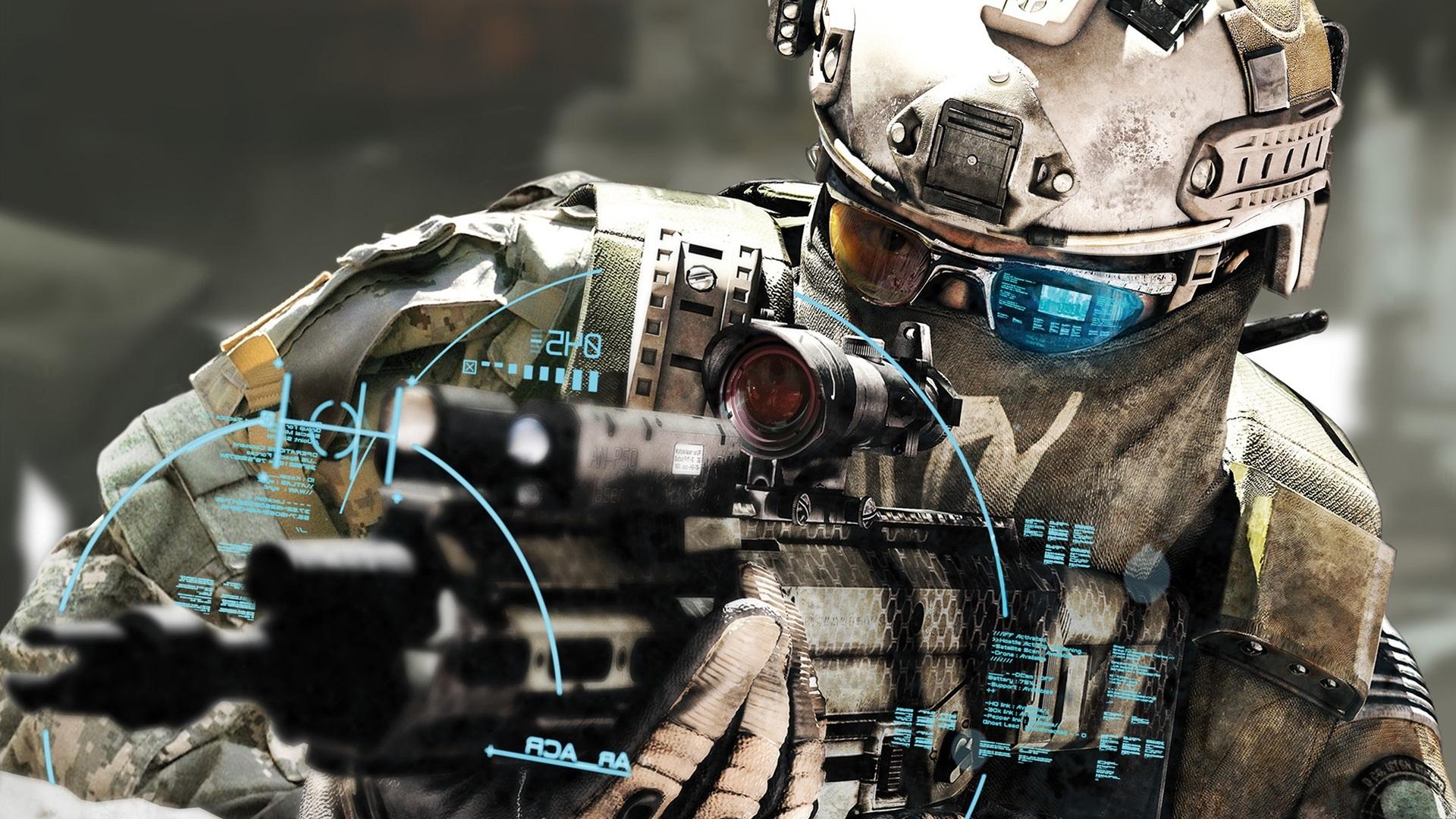 кибер солдат будущего, обои для рабочего стола, американский солдат, american US soldier wallpaper