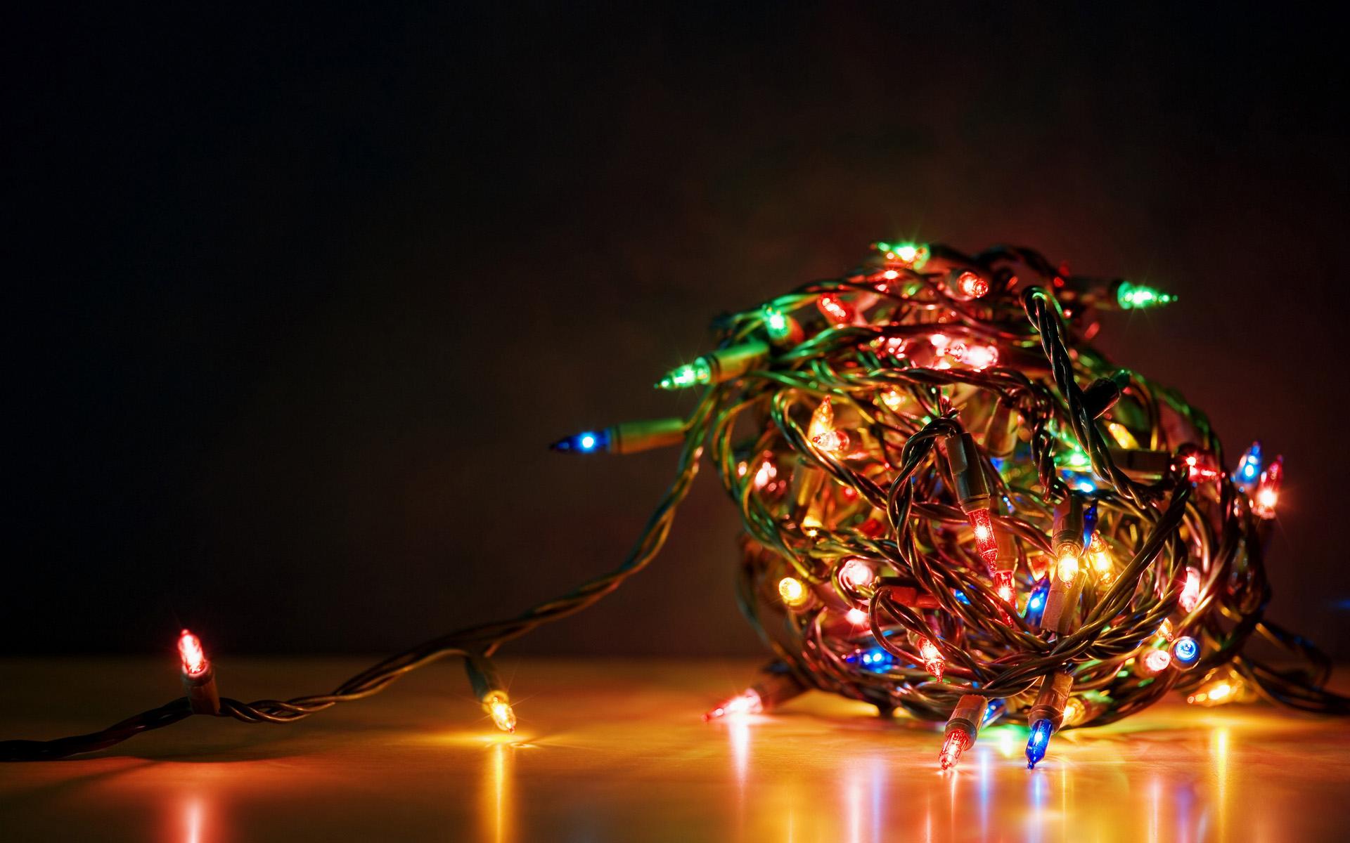 Рождественские огоньки, обои для рабочего стола, christmas fires wallpaper