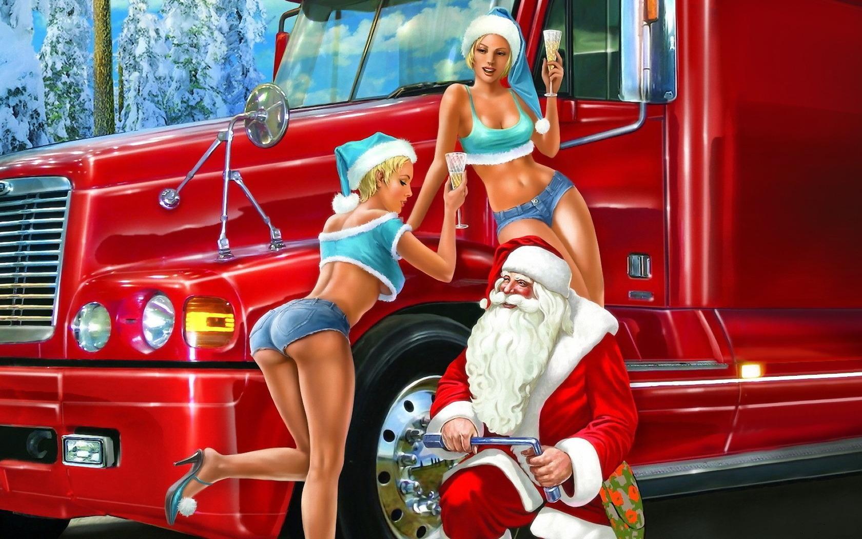 Дед мороз с девушками, скачать обои на рабочий стол, Santa Claus with girls wallpaper, фото