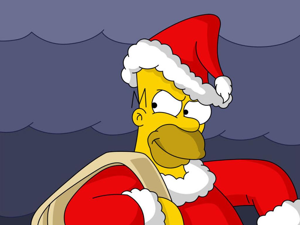 Гомер Симпсон Дед мороз, скачать обои на рабочий стол, Homer Simpson Santa Claus wallpaper, фото
