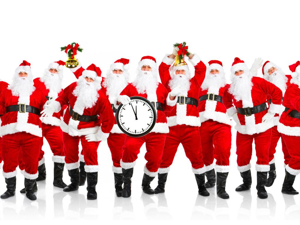 Много дедов морозов, скачать обои на рабочий стол, Santa Clauses wallpaper