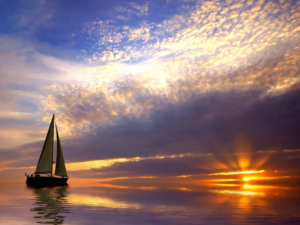 Закат, парусная яхта, море, пляж, обои на рабочий стол