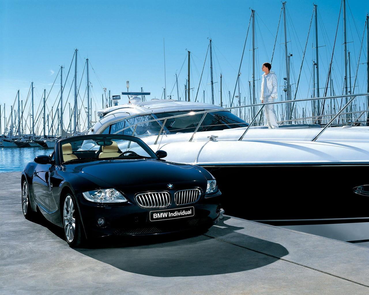 Яхта и машина, фото обои для рабочего стола, скачать бесплатно