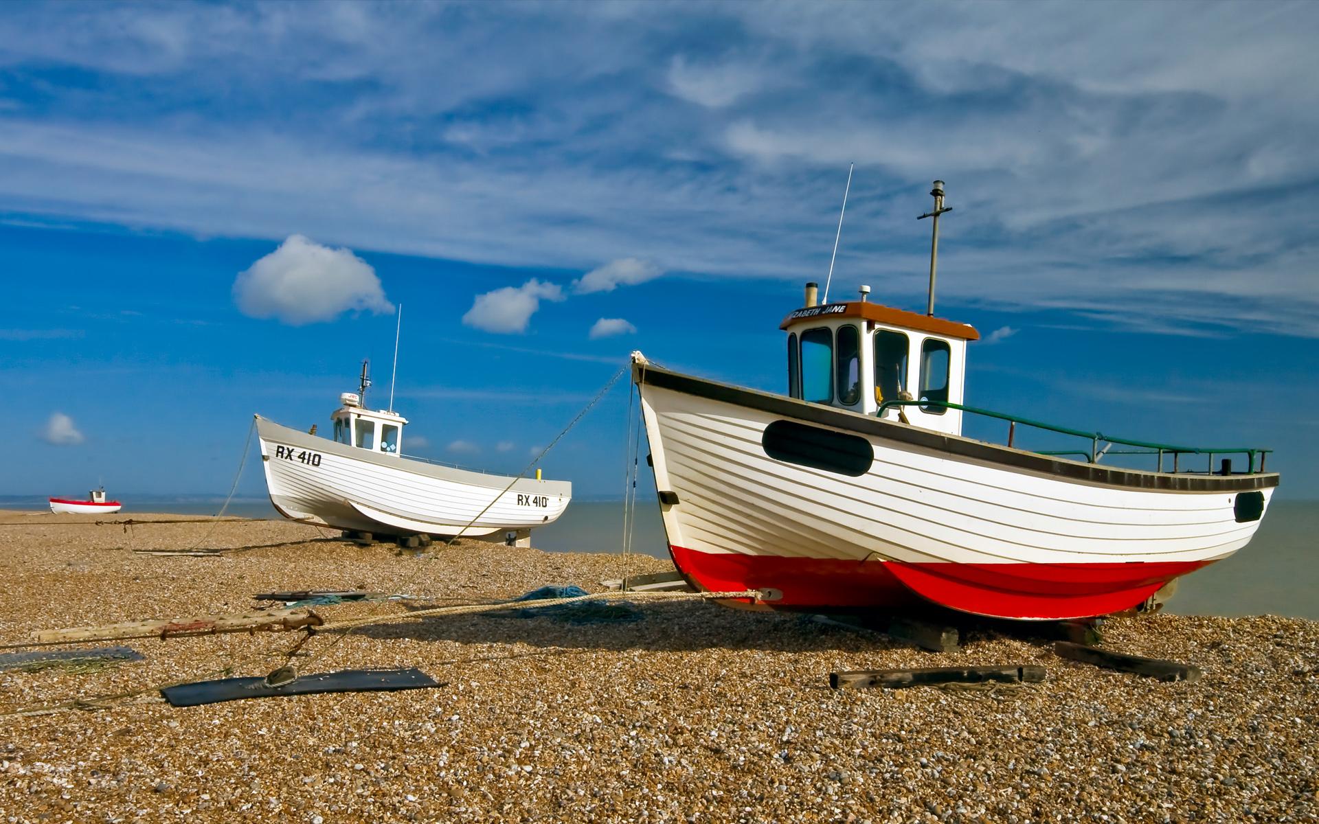пляж, катера, лодки, море, обои на рабочий стол