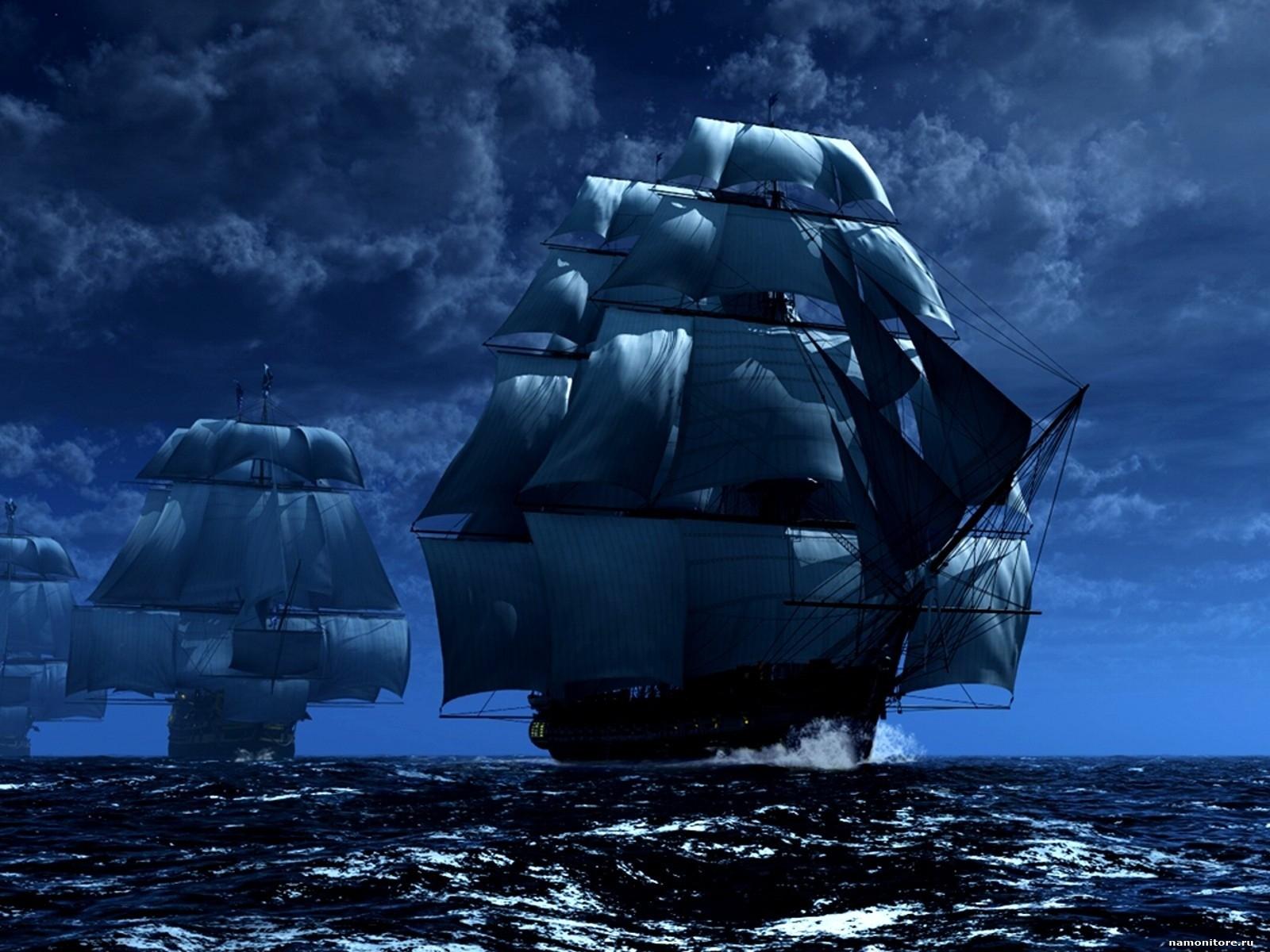 Ночь, парусные корабли, фото, обои для рабочего стола, скачать