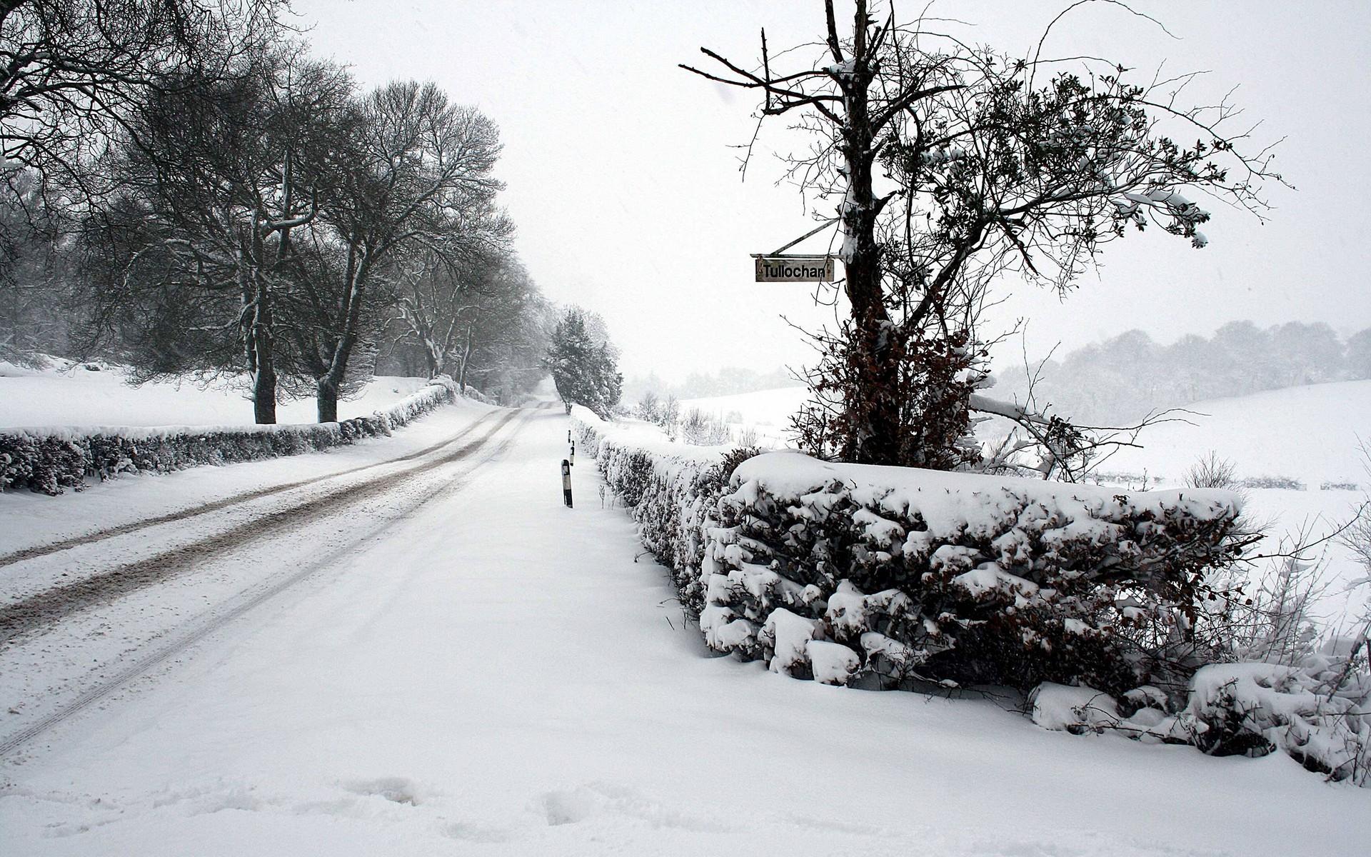 Зимняя дорога, фото, обои, зима, снег, скачать