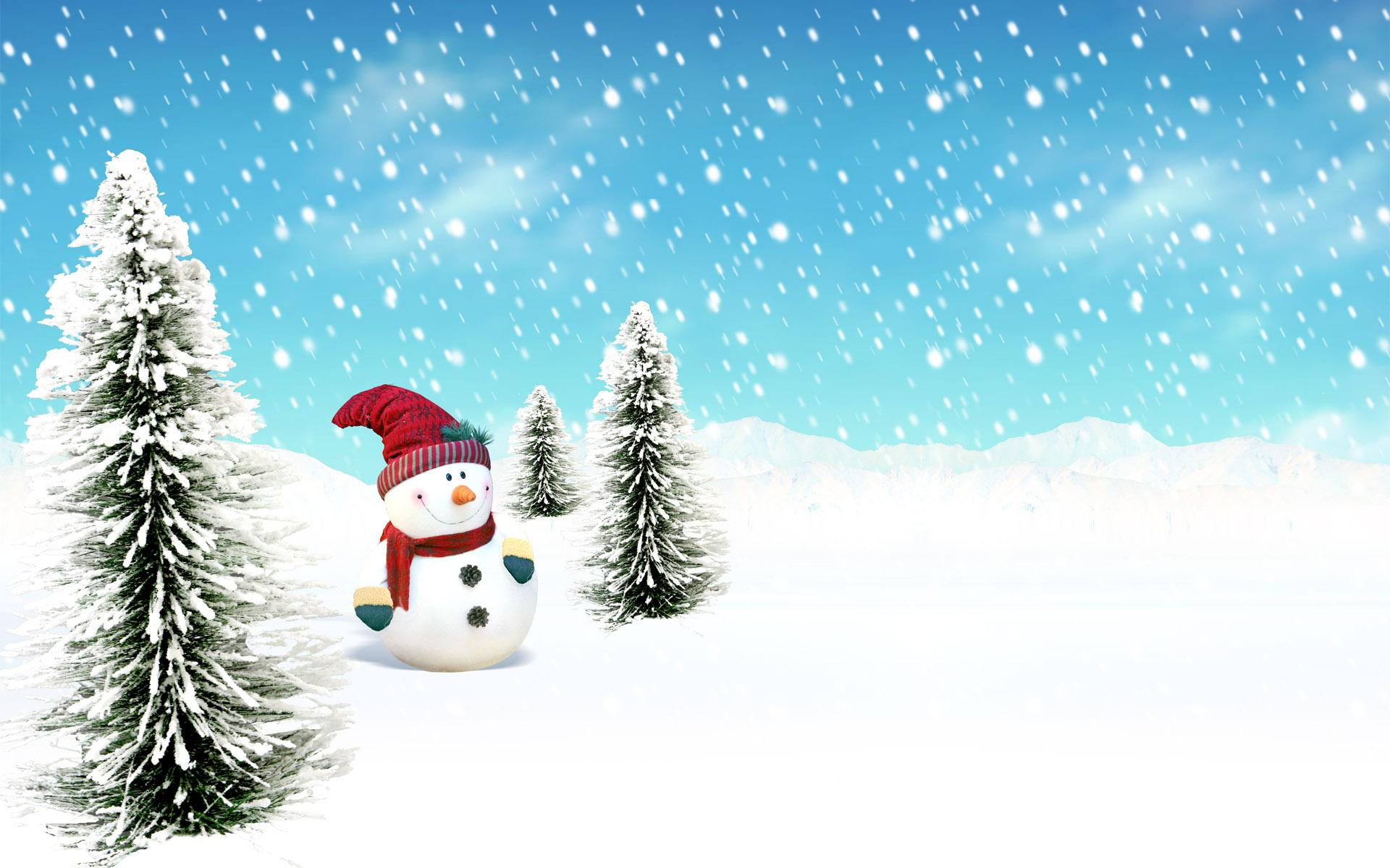 елки и снеговик, обои для рабочего стола, снег, зима