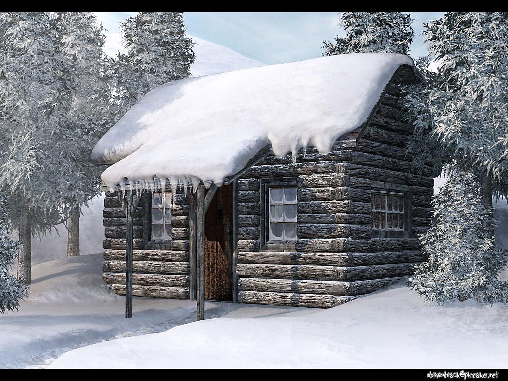 Дом в зимнем лесу, снег, зима, лес, обои на рабочий стол, скачать