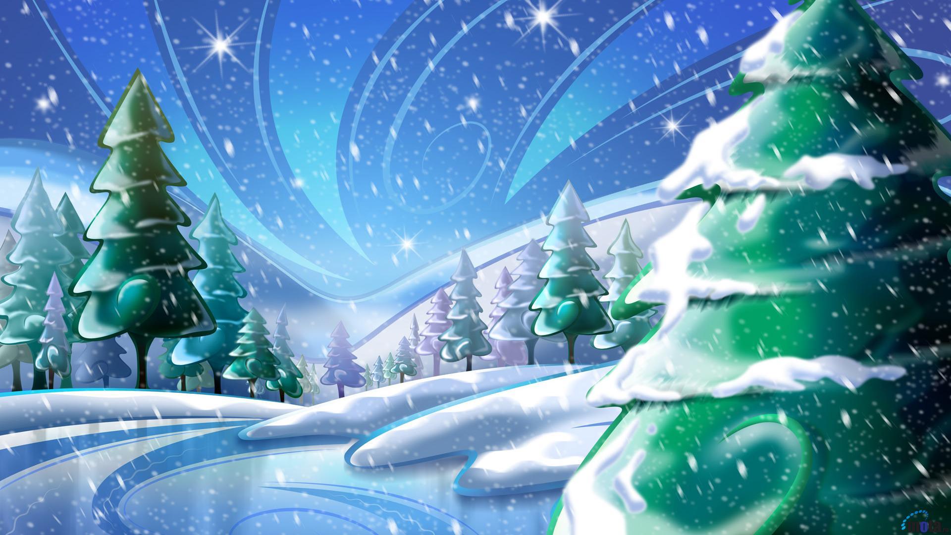 Зимние обои, снег, елки, скачать