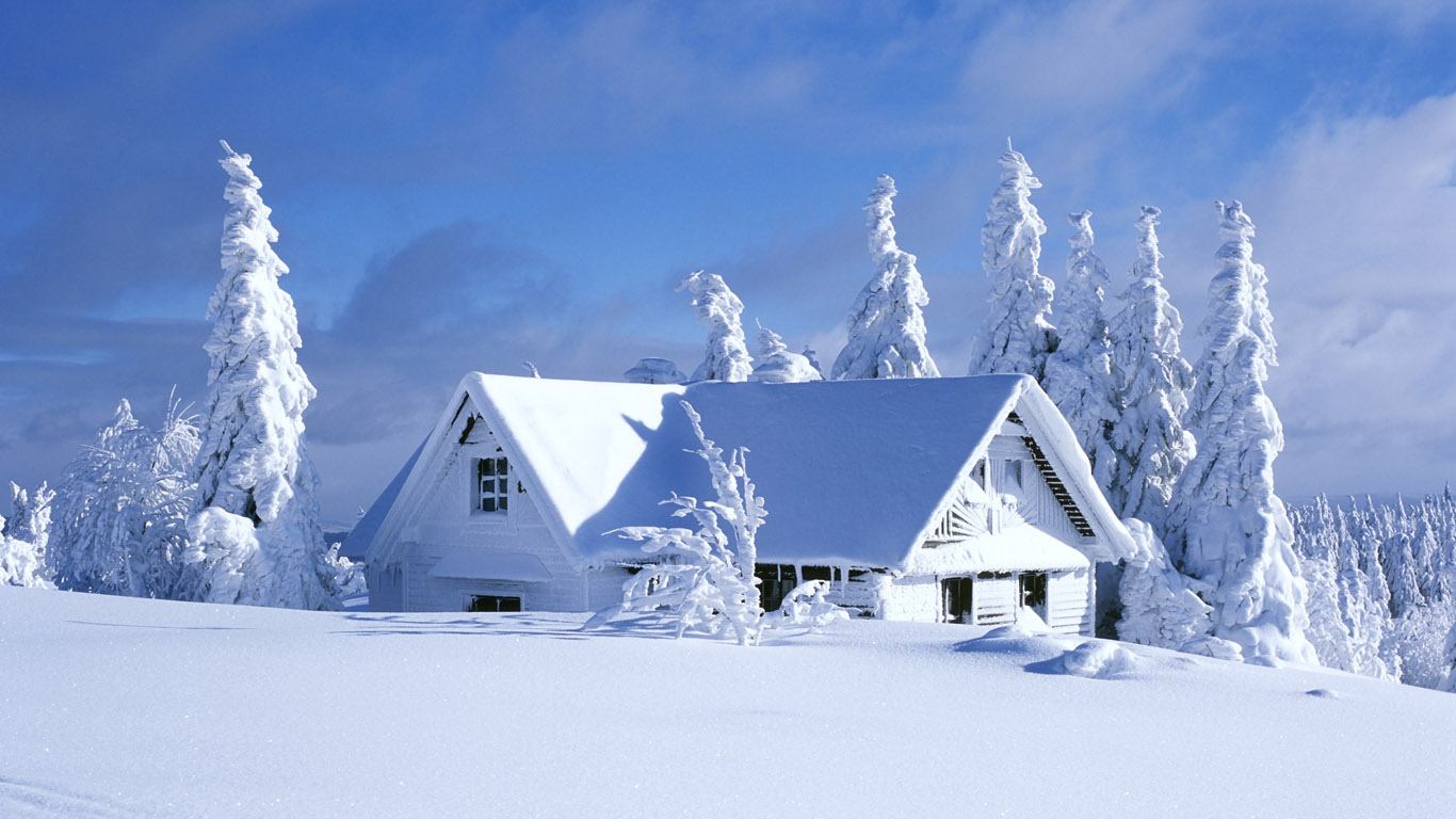 снег, дом в снегу, зима, фото, обои, скачать