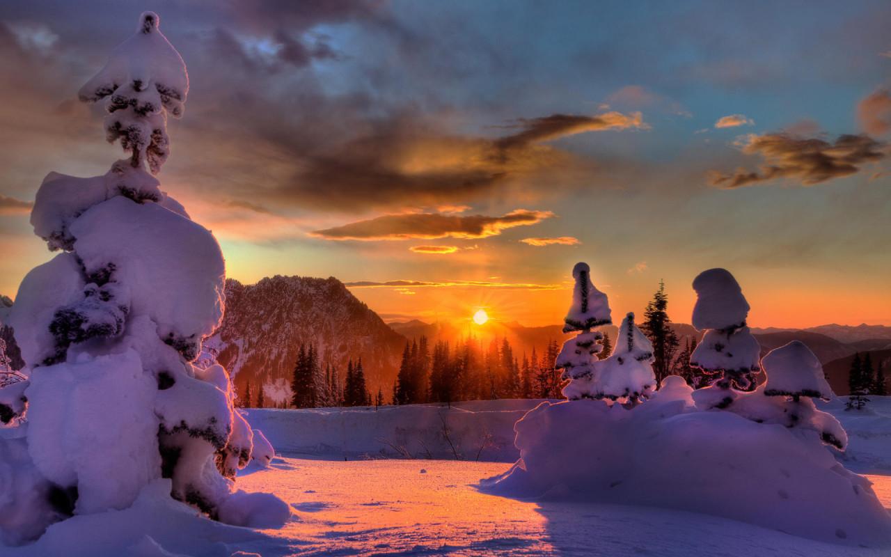 закат солнца, зима, снег, сугробы, скачать фото