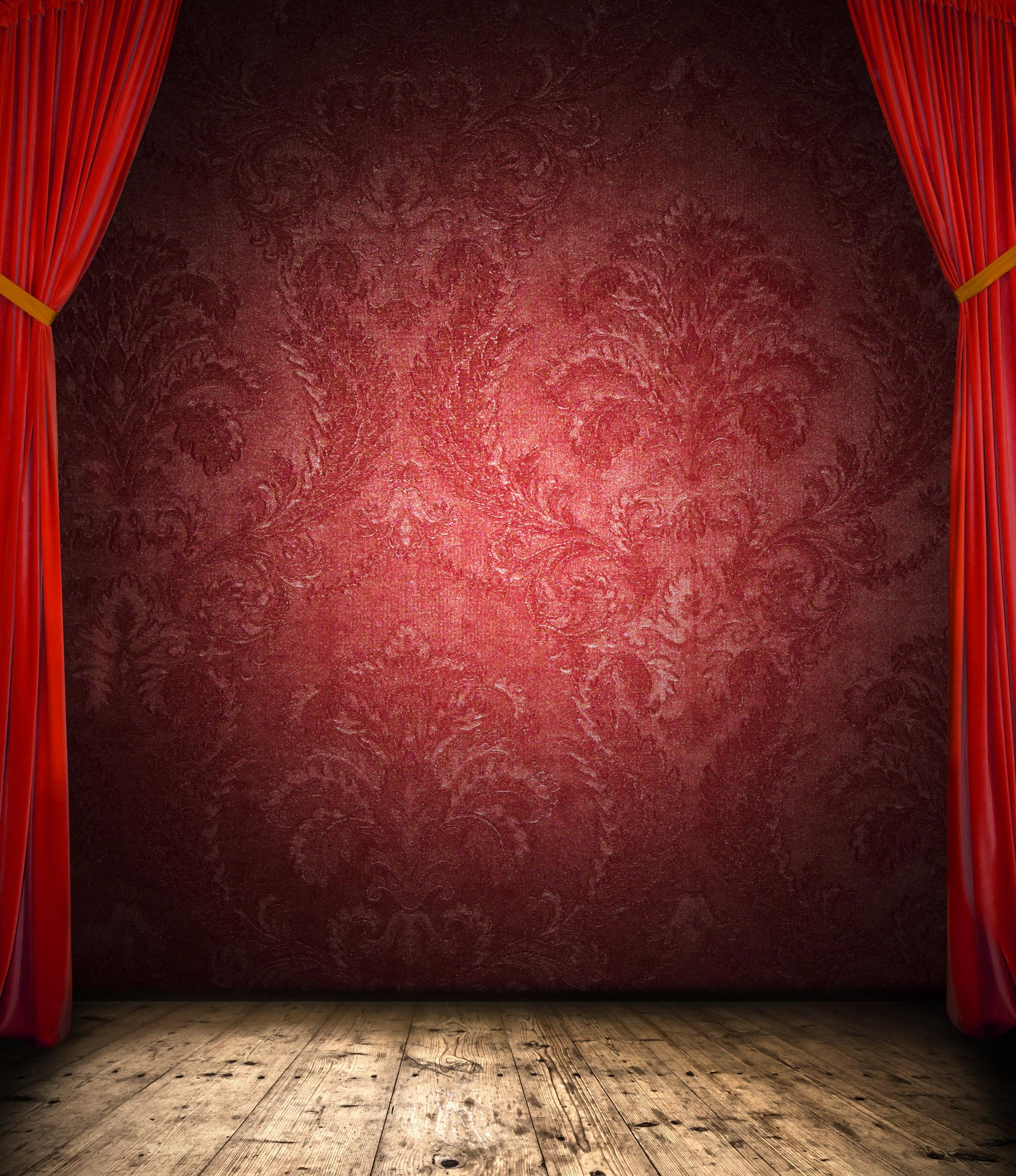 Красная стена, сцена, занавески, свет, фото