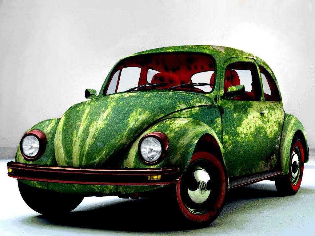 машина, жук, покрашена под цвет арбуза, фото, обои для рабочего стола