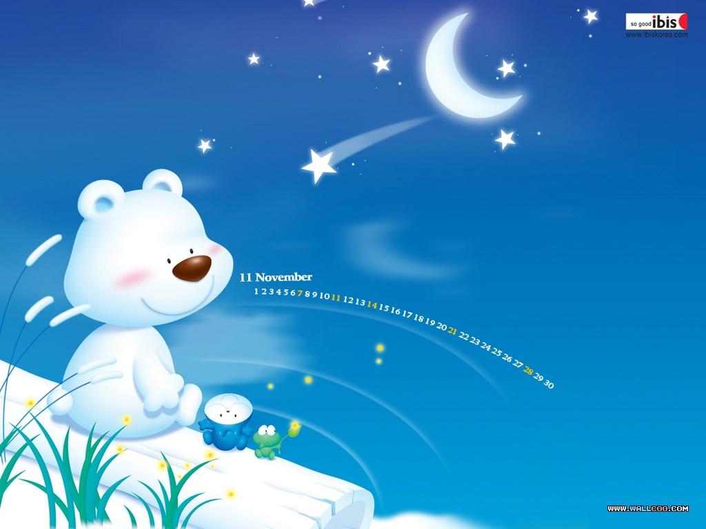 медвежонок сидит и смотрит на звездное небо
