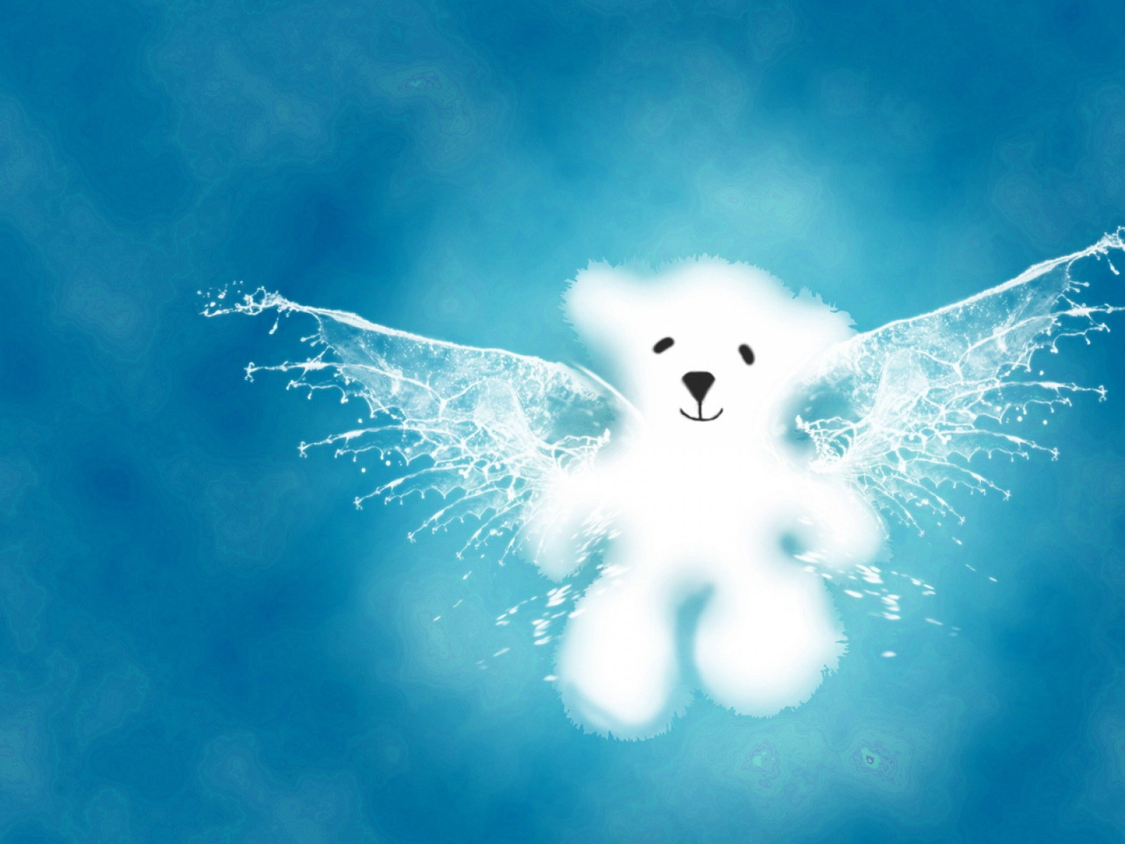 Белый медвежонок парит в небе, скачать фото, обои для рабочего стола