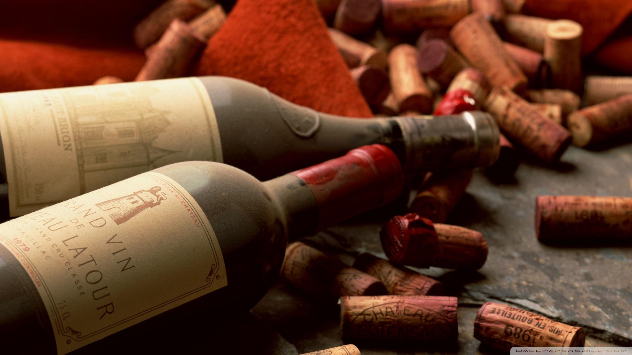 две бутылки вина, пробки для вина, скачать фото, обои для рабочего стола