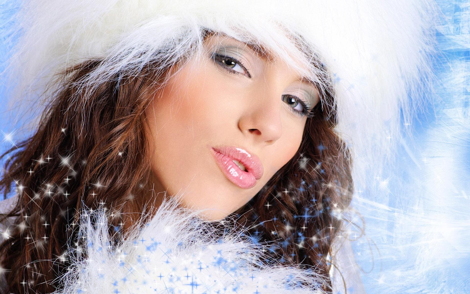 красивая девушка, зима, снегурочка, скачать фото